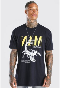 Black Oversized MAN Scorpion Graphic T-Shirt