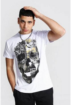Wit white Bloemenprint Schedel T-Shirt