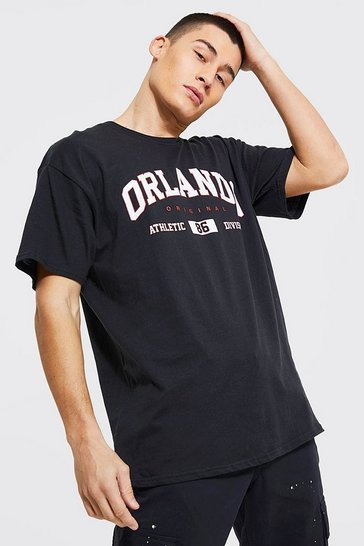 Black Oversized Orlando Print T-Shirt