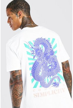Oversized Oriental Dragon Back Print T-Shirt, White Белый