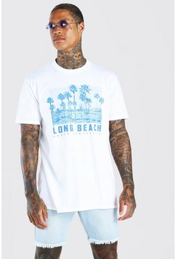 White Long Beach Palm Print T-Shirt