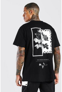Oversized Floral Photo Back Print T-Shirt, Black Чёрный