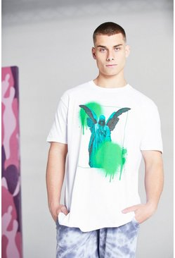 White Oversized Statue Graffiti Print T-Shirt