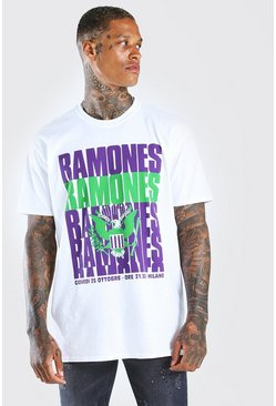 White Oversized Ramones Repeat Print T-Shirt