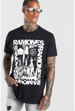 Black Oversized Ramones Photo Print T-Shirt