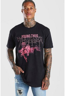 Black Oversized Young Thug Statue Print T-Shirt