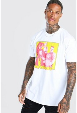White Oversized No Doubt Print T-Shirt