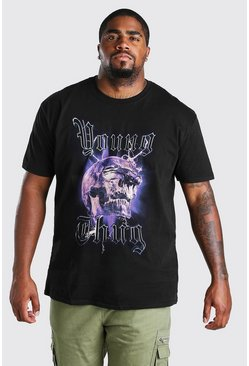 Black Plus Size Young Thug  Skull License T-Shirt