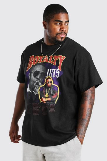 Black Plus Size Nas Royalty License T-Shirt
