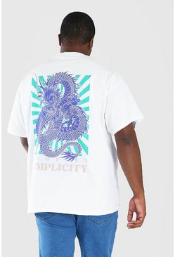 White Big and Tall Dragon Back Print T-Shirt