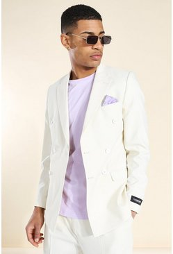 Double Breasted Suit Jacket With Pocket, Beige beis