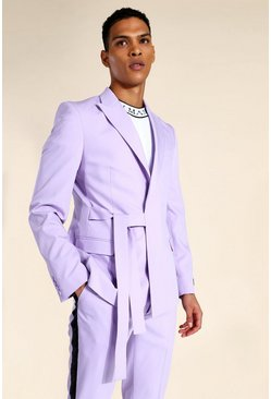 Lilac purple Relaxed Wrap Tie Suit Jacket