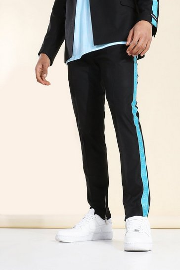 Black Skinny Taped Suit Trousers