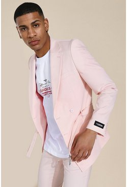 Skinny Belted Double Breasted Suit Jacket, Pink rosa