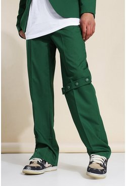 Dark green green Relaxed Buttoned Suit Trousers