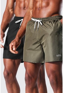 Multi Original MAN 2Pk Plain Mid Length Swim Shorts
