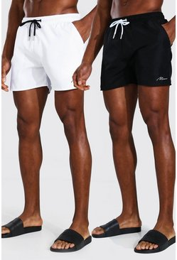 Multi MAN Signature 2Pk Plain Mid Length Swim Shorts