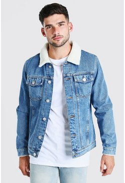 Mid blue blue Fully Borg Lined Denim Jacket