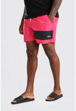 Red Plus Size MAN Official Mid Length Swim Short