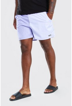 Lilac purple Plus Size MAN Colour Block Mid Swim Short