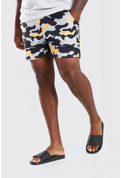 Khaki Plus Size MAN Camo Print Short Swim Short