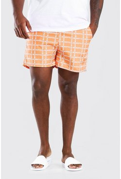 Orange Plus Size MAN Vertical Print Mid Swim Short