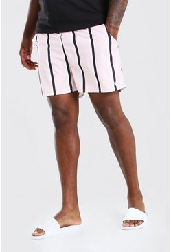 Pink Big & Tall Vertical Stripe Mid Swim Shorts