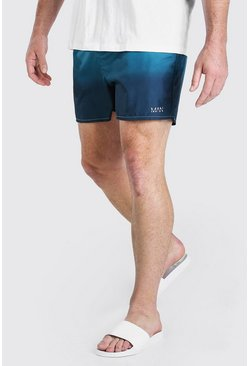 Blue Plus Size MAN Ombre Short Length Swim Shorts