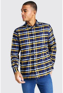 Blue Long Sleeve Brushed Check Shirt
