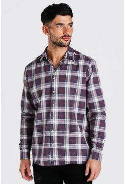 Charcoal grey Long Sleeve Oversized Brushed Check Shirt