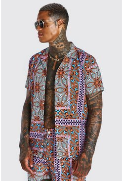 Multi Short Sleeve Revere Collar Tile Print Shirt