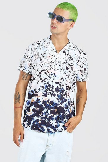 Multi Short Sleeve Revere Ombre Animal Print Shirt
