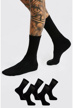 Black 5 Pack Plain Sport SockS