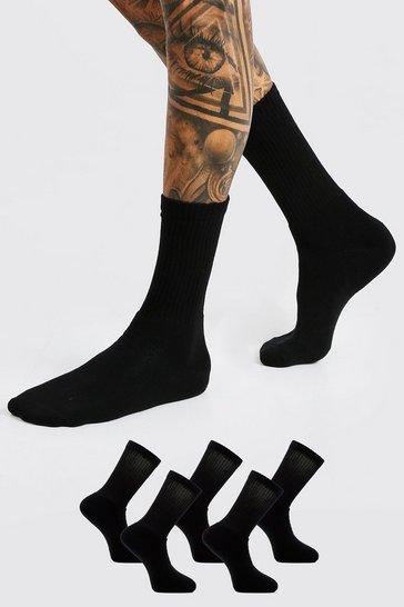 Black 5 Pack Plain Sport SockS