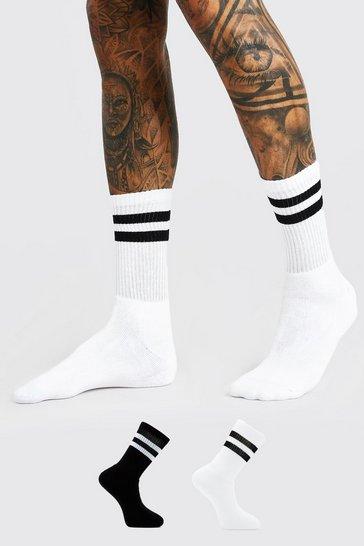 Multi 2 Pack With 2 Stripes Sport Socks