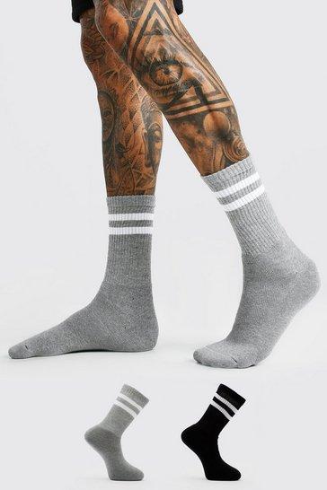 Multi 2 Pack Coloured White Striped Sport Socks