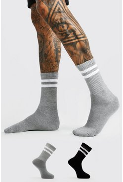 Multi 2 Pack Coloured White Striped Sport Socks