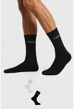 Multi 2 Pack MAN Dash Logo Sport Socks