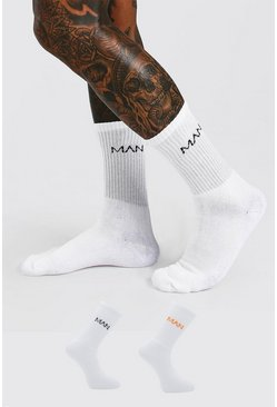 2 Pack MAN Dash Logo Sport Socks, White Белый