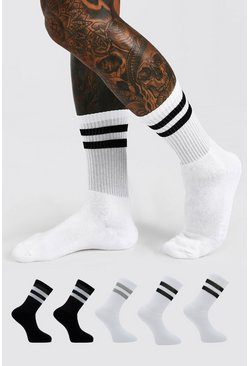 5 Pack Multi Stripe Sport Socks