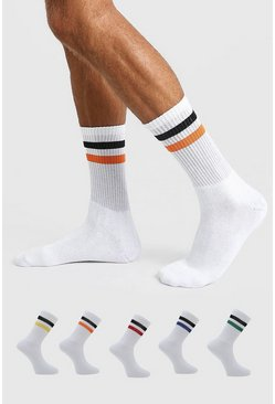 White 5 Pack Multi Stripe Sport Socks