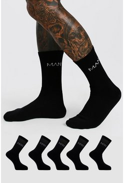 Black 5 Pack MAN Dash Logo Plain Sport Socks