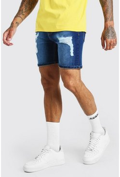 Mid blue blå Skinny Fit Denim Shorts With Distressing