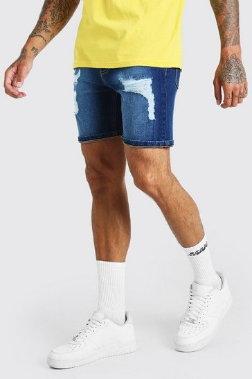 Mid blue blue Skinny Fit Denim Shorts With Distressing