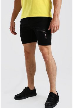 Black svart Skinny Fit Denim Shorts With Distressing