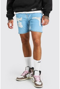 Light blue blå Skinny Fit Denim Shorts With Distressing