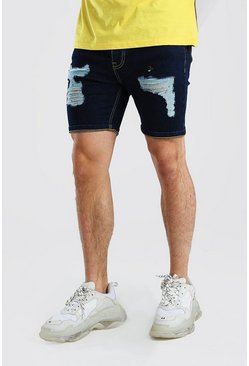 Dark blue blå Skinny Fit Denim Shorts With Distressing