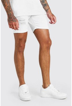 White Skinny Fit Denim Shorts With Distressing