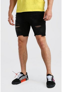 Washed black Skinny Fit Long Distressed Denim Shorts