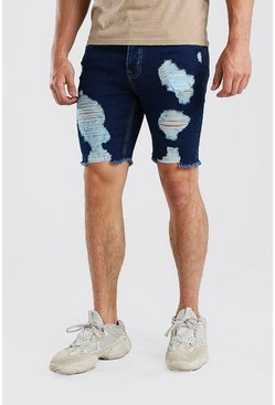 Washed blue blue Skinny Fit Long Distressed Denim Shorts